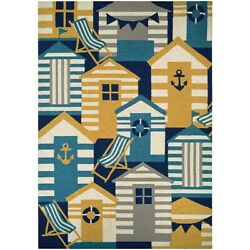 Couristan Outdoor Escape Beach Hut Navy & Multi IndoorOutdoor Rug