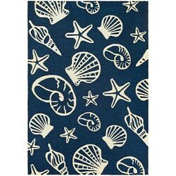 Couristan Outdoor Escape Cardita Shells Navy & Ivory IndoorOutdoor Rug