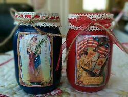 2 Americana Rustic Primitive Red Blue Patriotic Mason Jars 4th of July Decor