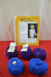 Lot 5 cascade yarns avalon purple blue with knitting pattern cap sleeve vest 796