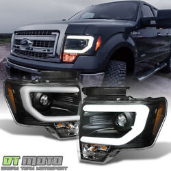 Black 2009-2014 Ford F150 Raptor SVT LED Tube DRL Projector Headlights Headlamps $245.99
