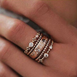 5PcsSet Crystal Rose Gold Stackable Ring 5 Sparkly Rings Boho Jewelry