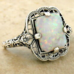 VICTORIAN STYLE 925 STERLING SILVER LAB OPAL FILIGREE RING  #994 $29.04