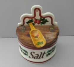 VNTG Rare Bauer Painted Salt Box w Wood Cover Hand Painted Wood Spoon