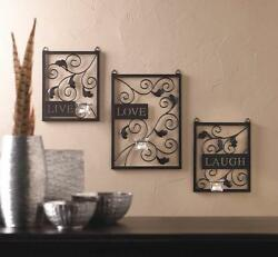 LIVE LOVE LAUGH sign metal sofa wall art hanging sculpture sconce candle holder $48.40