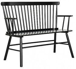 Safavieh Addison Spindled Back Design Settee in Black  Outdoor Chair Seat Bench