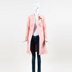 Christian Dior NWOT $5500 Light Pink Wool Embellished Double Breasted Coat SZ 40