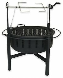 Landmann USA Fire Rock Fire Pit with Rotisserie Grill Black Outdoor Cooking NEW
