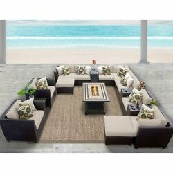Miseno BARBADOS-17b-BEIGE 17-Piece Outdoor Furniture Set wPropane Fire Pit