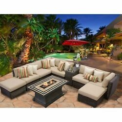 Miseno VENICE-10c-WHEAT 10-Piece Outdoor Furniture Set wPropane Fire Pit