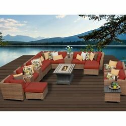 Miseno LAGUNA-17b-TERRACOTTA 17-Piece Outdoor Furniture Set wPropane Fire Pit