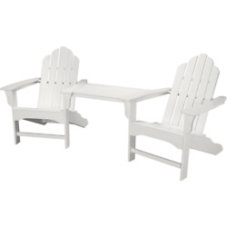 Hanover RIO3PC-WH Rio 3-Piece Polywood Outdoor Bistro Set with Adirondack Chairs