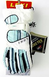 $125 Leki Womens Stripes Goatskin Leather Trigger S Goretex Ski Gloves Blue $39.00
