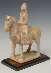 Eastern Wei Dynasty Antique Chinese Painted Pottery Horse and Rider