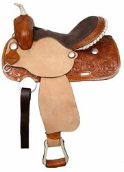 Barrel Style Saddle Suede Leather Seat Floral Tooling Rough Out 15