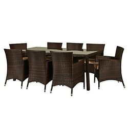 THY-HOM Doha 9-Piece All-Weather Wicker Dining Set BAD108DBBG New