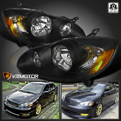 For 2003-2008 Toyota Corolla Replacement Black Headlights Head Lamps Left+Right $78.38