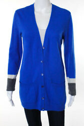Equipment Femme Blue Cashmere Long Sleeve Button Down Cardigan Size Small