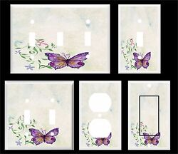 PURPLE BUTTERFLY WATER COLOR IMAGE  LIGHT SWITCH COVER PLATE  PLASTIC PLATES  $6.19