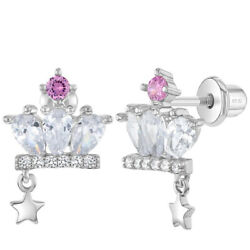 925 Sterling Silver Clear Pink CZ Princess Crown Screw Back Earrings for Girls