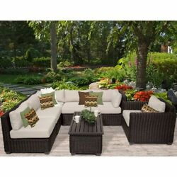 Miseno VENICE-07c-BEIGE 7-Piece Outdoor Furniture Set and Club Chairs