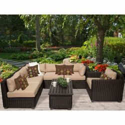 Miseno VENICE-07c-WHEAT 7-Piece Outdoor Furniture Set and Club Chairs