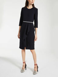 MAX MARA - Biacco - Crepe Wool Black Dress size 14 US  16 UK $1090 NEW