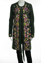 Emilio Pucci Green Multi Color Suede Beaded Floral Embroidered Fringe Front Coat