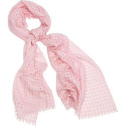 Kinross Cashmere Solid Check Scarf - Shell HatsGlovesScarve NEW