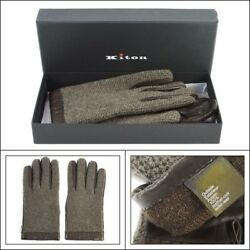 $1295 NIB KITON Italy Brown Knit Leather Cashmere Wrist Length Mens Gloves 9  L