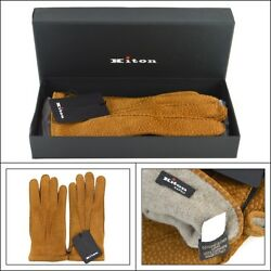 $1295 NIB KITON Italy Freckled Amber Suede Cashmere Wrist Length Mens Gloves 8 M