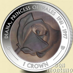 PRINCESS DIANA - 20th Anniversary Death 2017 Silver Proof Mother Pearl Rose Coin $89.00