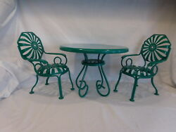 American Girl Green Bistro Table + Chairs Metal Patio Porch Play Set Jade Green