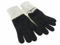 Authentic Chanel Cashmere Winter Gloves Women Black Coco Mark Mint N284