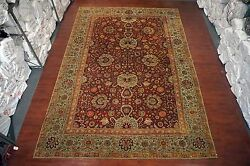 Burgundy 11X16 Antique 1900 Agra Oriental Hand Knotted Wool Area Rug Carpet