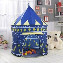 Protable Folding Blue Play Tent Childrens Kids Castle Cubby Play House