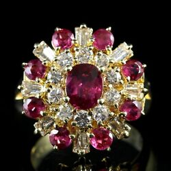 Vintage Ruby Diamond Cluster Ring 1.29ct Ruby 1.50ct Diamond 18ct Gold