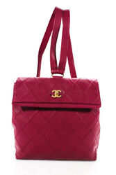 Chanel Pink Caviar Leather CC Turnlock Backpack Size Medium