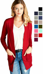 Women#x27;s Cardigan Long Sleeve Open Front Draped Sweater Rib Banded w Pockets $15.28