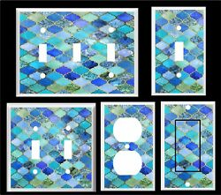 MOROCCAN  PATTERN PRINT LIGHT SWITCH COVER PLATE BLUE SHADES   HOME DECOR   $6.29
