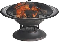 32-in Fire Pit Steel Wood Burning Black Outdoor Fireplace Outdoor Free Shipping!