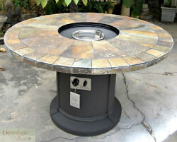 GAS FIREPLACE FIRE PIT OUTDOOR NATURAL SLATE TOP Lava Rocks 48