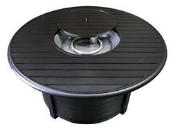 Hiland F-1350-FPT Extruded Aluminum Round Slatted Fire Pit Large Black Inclu