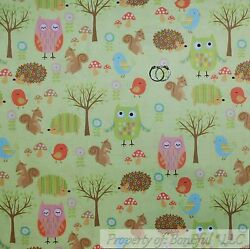 BonEful FABRIC FQ Cotton Quilt Green Tree Scenic Wood Forest Animal Owl Hedgehog
