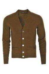 Tom Ford Cardigan Men's 48 Khaki Cashmere  Plain
