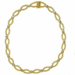 14K Solid Yellow Gold 3 Row Bead Oval Open Links w White Gold Buttons 16