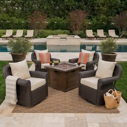 Venturi Outdoor 5 Piece Wicker Swivel Club Chairs with Brown Gas Fire Pit