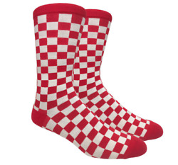 FineFit Men#x27;s Fun Novelty Print Trouser Casual Crew Socks Checkered Red amp; White $9.95
