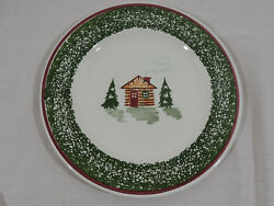 CABIN CHRISTMAS by TRE CI Cabin Trees Green Speckled Band Red Trim Dinner Plate