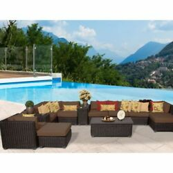 Miseno VENICE-13a-COCOA 13-Piece Outdoor Furniture Set